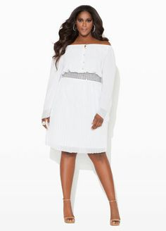 #WhiteHot Ashley Stewart Chiffon Pleated Dress----- I would rock this too!