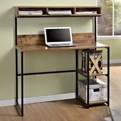 Features: -2 Fixed side shelves for additional storage. -Durable metal steel frame. -Great for use in small spaces. -Large worksurface with 3 compartment hutch above. -Natural reclaimed finish wi More