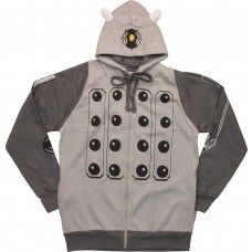 """It's always a good time for a bit of """"extermination"""" if you're wearing your Dalek hoodie! This grey zipper-front hoodie features front pockets and is designed to look like the Doctor's nemesis... while keeping you warm and comfortable on the inside. Available in sizes S-XXL."""
