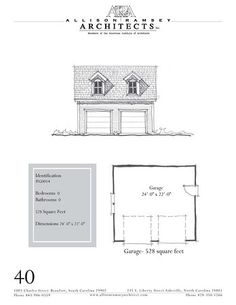 """Garage? // The overall dimensions are 24'-0"""" x 22'-0"""". Outbuildings, page 40."""