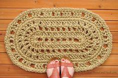 Oval Door Mat - Rope Mat - Crochet - Handmade To Order