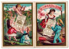 1881-Milward-Sewing-Needles-Folding-Victorian-Calendar-Trade-Card-w-Cherubs