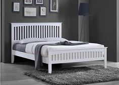 New White Solid Country Wooden Wood Pine Bed Frame Shaker Style Double King Size Pine Bed Frame, Grey Bed Frame, Wood Headboard, Headboard And Footboard, Mattress Springs, Bed Mattress, White Furniture, Bed Furniture, White Wooden Bed