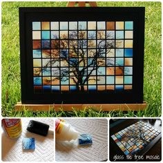 Take a picture and print it off in four different colors. Cut up and modge podge on to glass tiles.