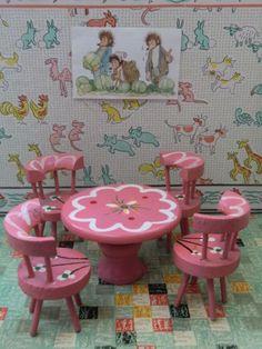 Vintage Kleine Sitzgruppe tlg Holz f r die Puppenstube