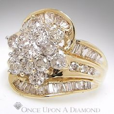 1.75ctw Round Brilliant & Baguette Cut Diamond Cluster Cocktail Ring Yellow Gold