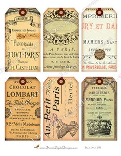 Printable French Ephemera Paris Gift Tags by DreamDigitalDesigns