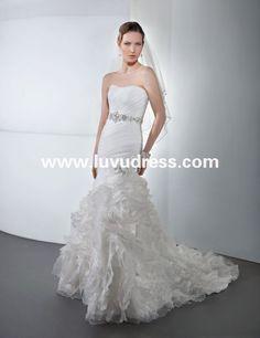 fashion simple but elegant strapless neck organza ruffle skirt slim fit backless mermaid china custom made mermaid wedding dress