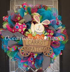Easter Wreath, Easter Door Hanger, Spring Wreaths, Front door Wreaths, Bunny wreath, Whimsical Wreath, Ready to Ship by OccasionsBoutique on Etsy