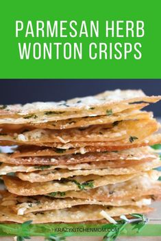 Parmesan Herb Wonton Crisps Krazy Kitchen Mom is part of Wonton recipes - Why buy crackers when you can make homemade Parmesan Herb Wonton Crisps Crispy, cheesy, herb flavor on a baked wonton wrapper Yummy Appetizers, Appetizer Recipes, Snack Recipes, Cooking Recipes, Chinese Appetizers, Egg Roll Recipes, Italian Appetizers, Chinese Desserts, Chinese Food