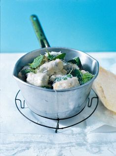 cheat's ricotta, spinach and mint gnocchi