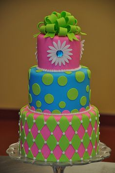 Neon Birthday Cake by Designer Cakes By April, via Flickr