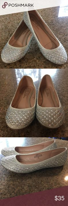 Formal Rhinestone flats EUC. Gorgeous formal nude silver rhinestone flats. Beautiful shine. Wore once to a formal event. Shoes Flats & Loafers