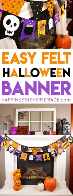 This Felt Halloween Banner is SUPER easy to make with the Cricut Maker machine! Start making your own easy Halloween decorations right now!