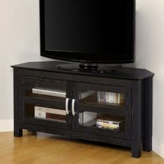 Corner Black TV Stand Flat Screen 44 Inch Television Entertainment Center 52 New Modern Corner Tv Stand, Black Corner Tv Stand, Corner Tv Stands, Black Tv Stand, Old Tv Stands, Wooden Tv Stands, White Media Cabinet, Tv Stand With Glass Doors, Tv Stand Room Divider