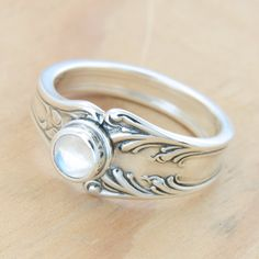 Spoon Ring with Moonstone, Upcycled Sterling Silver, Size 8. $70.00, via Etsy.