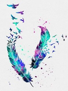 Pocahontas's feathers  watercolor