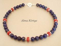 Lapislazuli - Kette Collier Lapis Lazuli Schaumkoralle - ein Designerstück von Feng-Huang bei DaWanda
