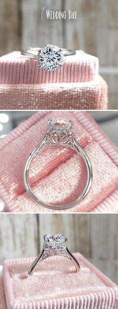 White Gold Unique Hidden Halo Solitaire Round Cut Diamond Engagement Ring  Style #: PRENG2739