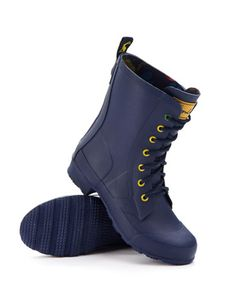 #Joules LACEYWELLY Womens Laced Rain Boot, Navy. These rugged pair of Rain Boots are here to make sure your feet stay dry in style. Pull them on and lace them up for the ultimate puddle-proof style.