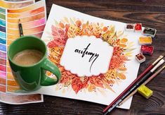 """Combine calligraphy and watercolor painting to make this beautiful autumn watercolor sign designed by Elena Mozhvilo. Start by sketching the outline of the label, then paint your leaf design around the outside. Once that's dry, write the word """"autumn"""" in the middle of your label. If you haven't tried calligraphy before, take a look at our calligraphy for beginners guide for lots of tips and advice. Watercolor Galaxy, Easy Watercolor, Leaf Projects, Paint Run, Leaf Outline, Autumn Scenes, Autumn Painting, Painted Pumpkins, Leaf Art"""