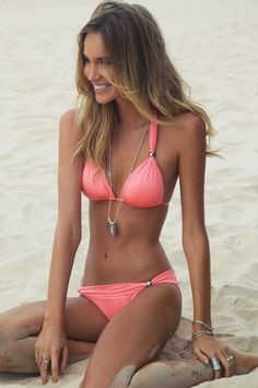 Coral swimsuit.