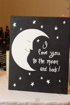 Custom Canvas Painting I Love You to the Moon by AnanasStitches