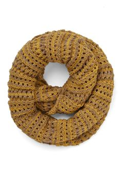 Two-Tone of a Kind Scarf in Mustard and Tan. You and this open-knit scarf sure do make the perfect pair! #yellow #modcloth