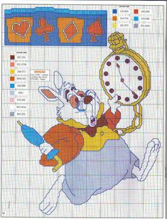 Alice in Wonderland cross stitch - free cross stitch patterns crochet knitting amigurumi Disney Cross Stitch Patterns, Cross Stitch For Kids, Cross Stitch Charts, Cross Stitch Designs, Alice In Wonderland Cross Stitch, Alice In Wonderland Crafts, Disney Stitch, Cross Stitching, Cross Stitch Embroidery