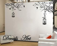 Branches with Birdcages - Vinyl wall sticker- wall decal- tree decals- wall murals art - nursery wall decals- Tree -Nature