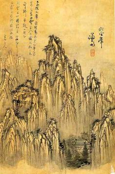 Jeong Seon, Album of Paintings by Jeong Seon and Sim Sa-jeong - p i n t e r e s t : abbbygiiirl Chinese Landscape Painting, Korean Painting, Chinese Painting, Chinese Art, Landscape Paintings, Comic Pictures, Art Pictures, Asian Artwork, Mediums Of Art