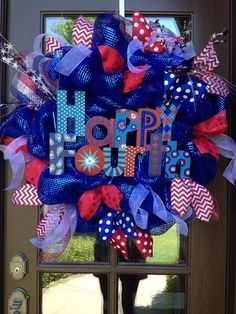 Happy Fourth of July wreath decor #Fourth of July
