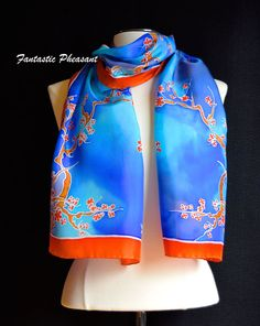 Silk scarf hand painted delicate yet vibrant by FantasticPheasant