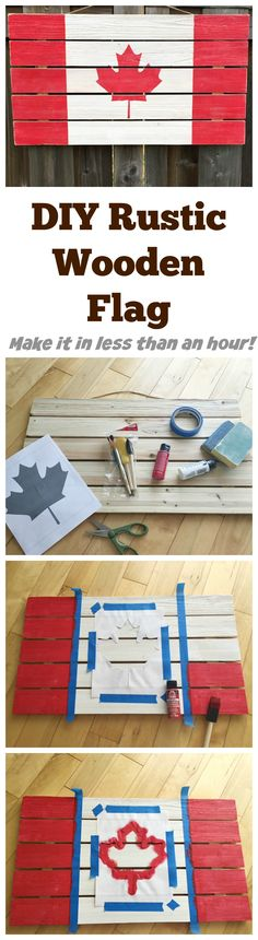DIY Rustic Wooden Flag - easy to make and customizable to a variety of mediums. Just 6 supplies needed and it will be ready in under an hour! Woodworking Supplies, Custom Woodworking, Woodworking Projects Plans, Easy Diy Crafts, Diy Craft Projects, Wood Projects, Craft Ideas, Project Ideas, Do It Yourself Organization