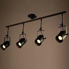 Frideko Retro Style 3 Socket Industrial Spot Light Ceiling Pendant Lamp for Cafe Bar Dining Room Restaurant (Black): Amazon.co.uk: Kitchen & Home