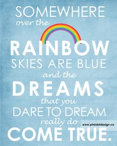 Somewhere Over the Rainbow Wall Art - As a framed print, or stretched on canvas, this piece adds the perfect touch of artwork to any modern baby nursery, child's bedroom or playroom.