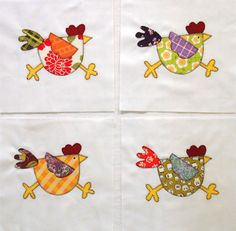 Funky Chicken Appliqued Quilt Blocks by zizzybob on Etsy