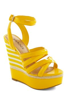 Strutting on Sunshine Wedge - Yellow, White, Woven, Stripes, Casual, Summer, Wedge