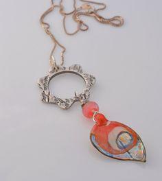 Rose Butterfly Wing Pendant – Le Papillon – Fine silver flower, French script, lampwork