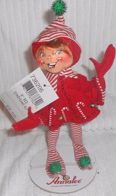 "ANNALEE DOLLS 9"" Red Candy Cane Elf Christmas Holiday 2006 736206 #Annalee #Dolls"
