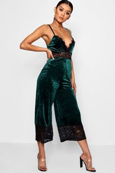a064dc163ae Click here to find out about the Lace Trim Velvet Cami Jumpsuit from  Boohoo