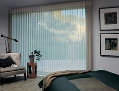 Luminette Privacy Sheer Shades marry the beauty of sheers with the privacy of soft draperies. Featuring translucent fabric facings and soft fabric vanes that rotate to varying degrees of light control and privacy, these sheers are especially suited for entire walls of windows, French or Sliding glass doors.  http://www.windowcoveringoutlet.com/sheer-shades/luminette.html