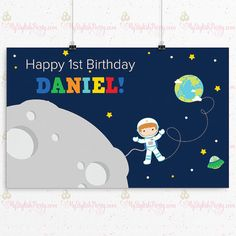 Outer Space Birthday Backdrop or Poster - Astronaut Backdrop or Birthday Poster #backdrop #outerspace