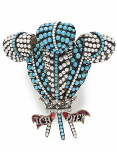 From the private collection of Joan Rivers, circa 1880's, ANTIQUE MULTI-GEM AND DIAMOND 'PRINCE-OF-WALES' BROOCH