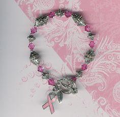 Swarovski Rose Austrian Crystal Breast Cancer Bracelet-FREE SHIPPING