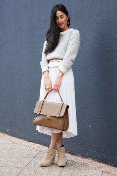 #sweater, #dress, #bag, #booties