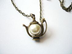 Antique Teapot with Pearl, Bridal Jewelry,  Alice's teapot Pearl Necklace Brass Charm Whimsical Jewelry Alice In Wonderland.. $18.00, via Etsy.