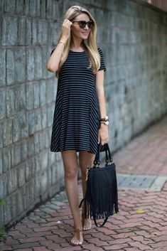 Striped Swing Dress + Druzy Bracelets on @kaitkeegan | Blonde Expeditions
