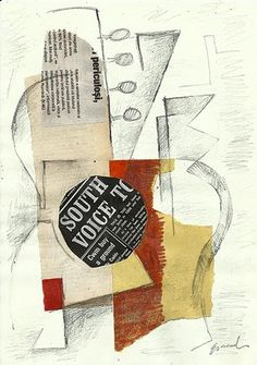 Sale Original Cubist Art Collage Abstract Guitar Mixed Media Signed Emanuel O   eBay