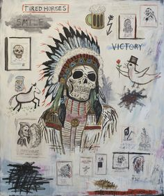 """Return Of The Heroes"" 2012 72x60 inches acrylic, oilstick and paper collage on canvas by Wes Lang"